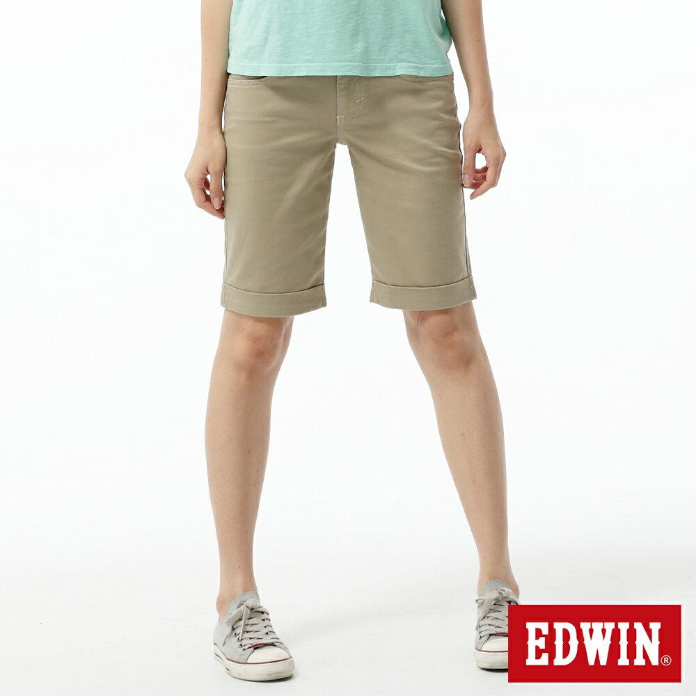 【790元優惠↘】Miss EDWIN EDGE LINE 5分色褲-女款 灰卡其