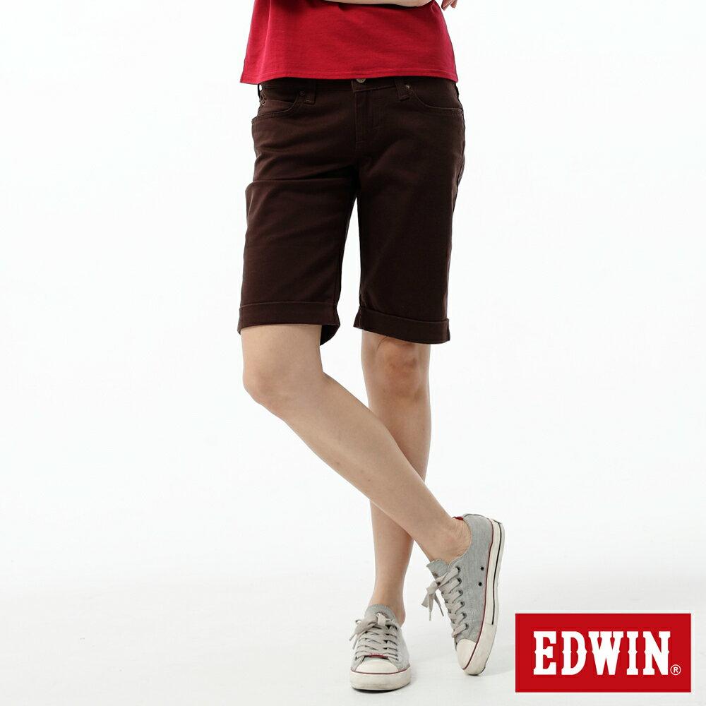 【790元優惠↘】Miss EDWIN EDGE LINE系列反折5分色褲-女款 深咖啡