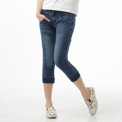 【1290元優惠↘】EDWIN JERSEYS 迦績圓織剪接 七分牛仔褲-女款 石洗綠 0