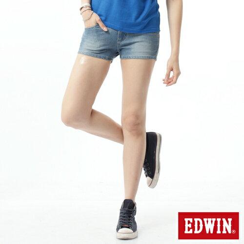 【1290元優惠↘】EDWIN JERSEYS迦績涼感牛仔超短褲-女-重漂藍 0
