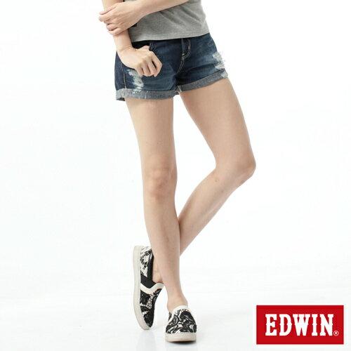 【790元優惠↘】【零碼】Miss EDWIN 503磨破牛仔超短褲-女款 原藍磨