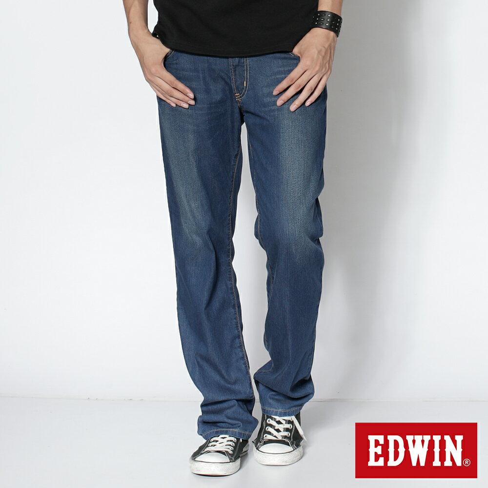【夏日丹寧企劃。2件1500元↘】【大尺碼】EDWIN COOL RELAX 中直筒牛仔褲-男款 石洗藍【單件特惠 990】【若符合搭售組合活動優惠,則無法再使用優惠券折抵】 0