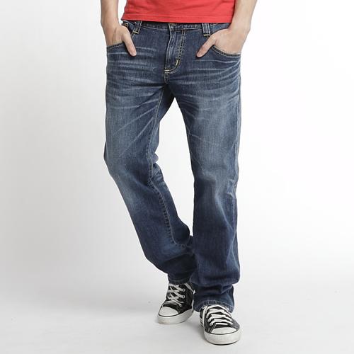【經典丹寧。990元均一價↘】EDWIN BLUE TRIP 牛皮袋蓋牛仔褲-男款 石洗藍 0