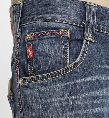 【經典丹寧。990元均一價↘】EDWIN BLUE TRIP 牛皮袋蓋牛仔褲-男款 石洗藍 1