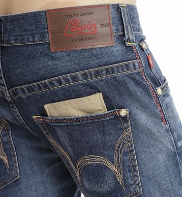 【經典丹寧。990元均一價↘】EDWIN BLUE TRIP 牛皮袋蓋牛仔褲-男款 石洗藍 2