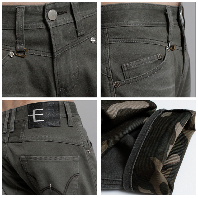 EDWIN E-F W.F迷彩內裡 保暖中直筒牛仔褲-男款 橄欖綠 1
