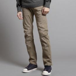 EDWIN E-F W.F迷彩內裡 保暖中直筒牛仔褲-男款 褐色