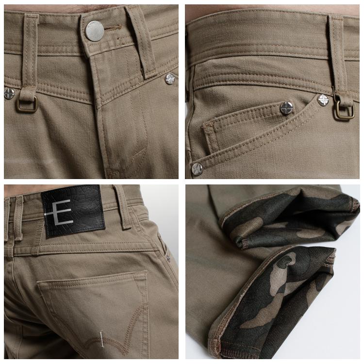 EDWIN E-F W.F迷彩內裡 保暖中直筒牛仔褲-男款 褐色 1