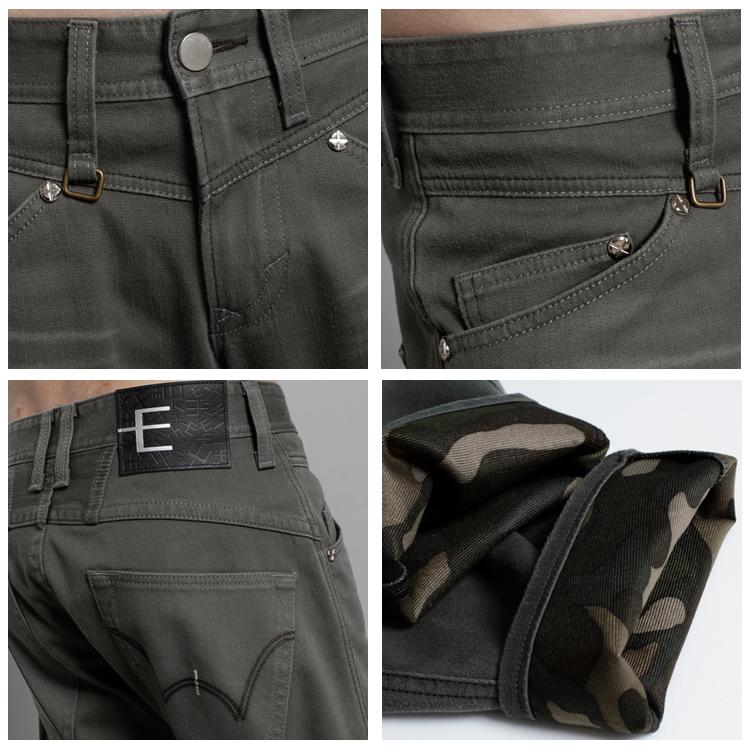 EDWIN E-F W.F 大尺碼 迷彩內裡 保暖中直筒休閒褲-男款 橄欖綠 1