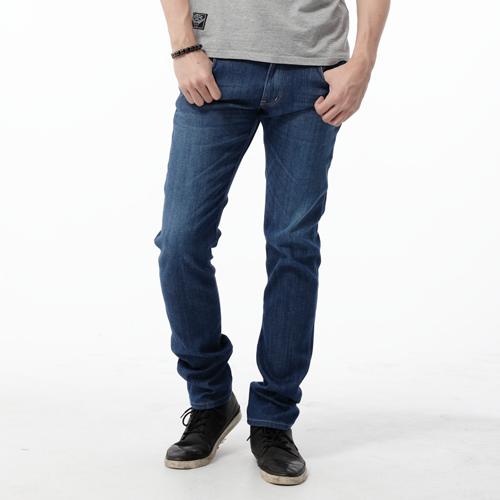 【9折優惠↘】EDWIN EDGE COOL 口袋繡邊窄直筒牛仔褲-男款 中古藍 0