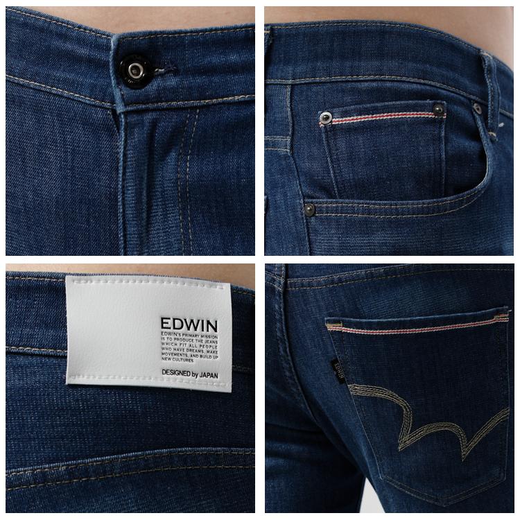 【9折優惠↘】EDWIN EDGE COOL 口袋繡邊窄直筒牛仔褲-男款 中古藍 1
