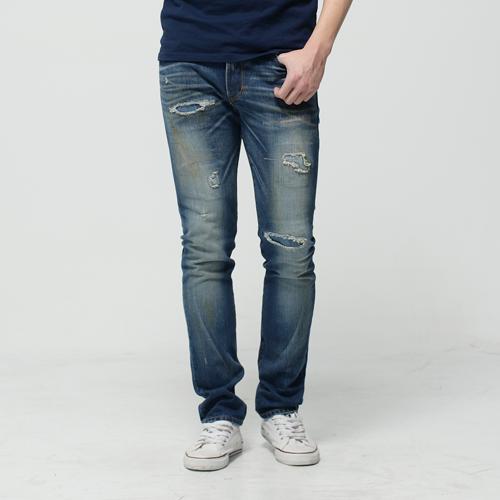 【換季最終波。任2件再9折優惠↘】EDWIN 503NARROW 破壞窄直筒牛仔褲-男款 漂淺藍 0