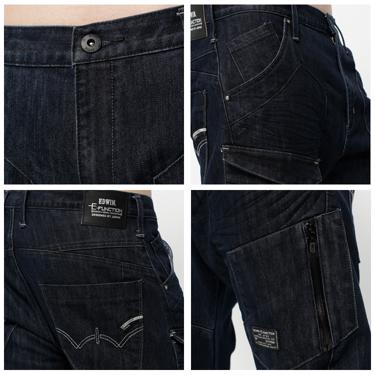 EDWIN E-FUNCTION  貼袋剪裁 機能3D牛仔褲-男款 原藍色 SLIM 1