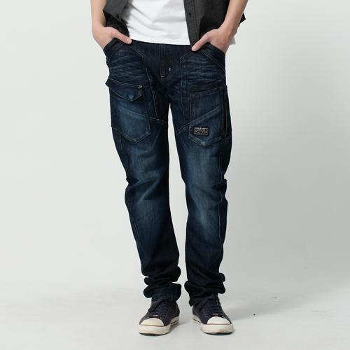 EDWIN E-FUNCTION 貼袋剪裁 機能3D牛仔褲-男款 酵洗藍 SILM 0