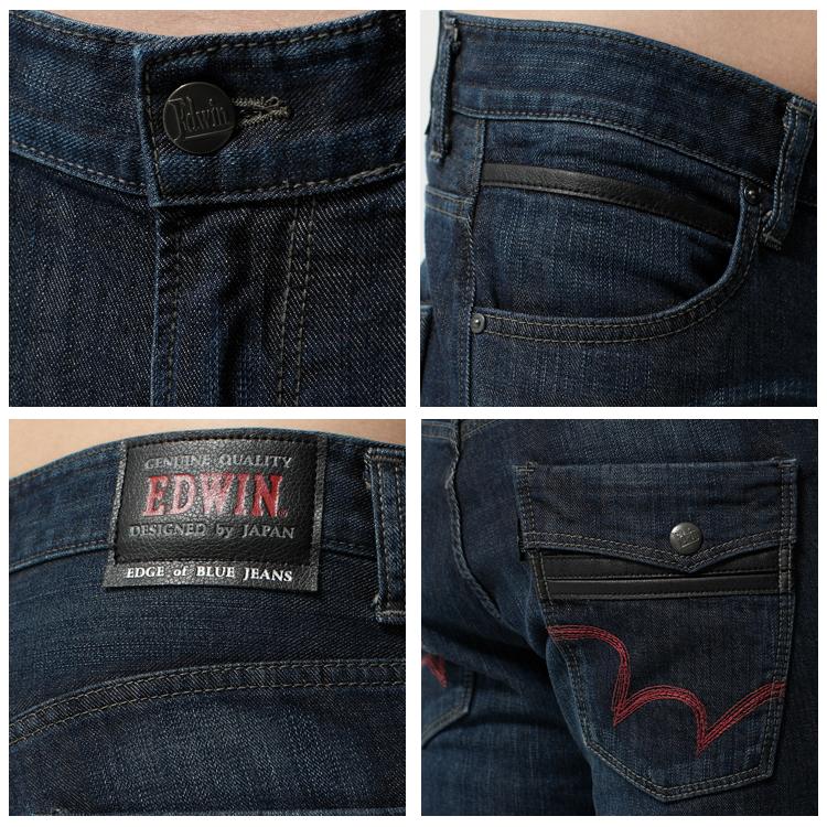 【換季最終波。任2件再9折優惠↘】EDWIN EDGE LINE 假袋蓋合身窄管牛仔褲-男款 原藍磨 1