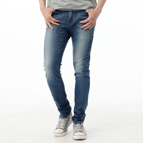 【3/29-3/31五回目水曜日。任選3件第3件牌價1折↘】EDWIN EDGE LINE 假袋蓋合身窄管牛仔褲-男款 石洗藍 0