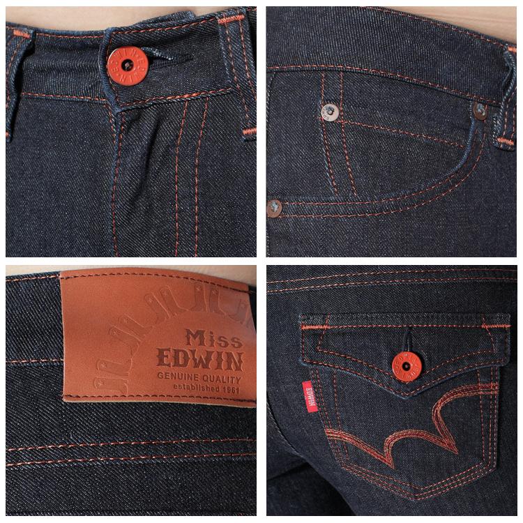 【990元優惠↘】Miss EDWIN EDGE LINE 袋蓋小直筒牛仔褲-女款 原藍色 1