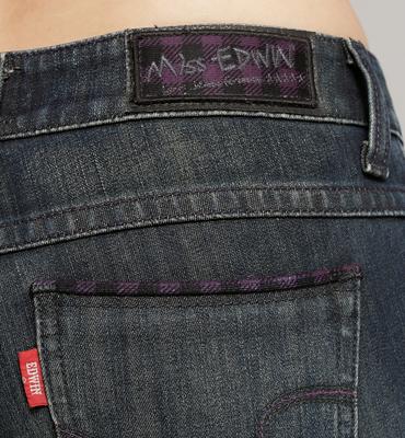EDWIN Miss  W.F 紫黑格保暖 窄管牛仔褲-女款 酵洗藍 內裡貼合保暖材質 SLIM WARM PANTS 零碼【任選2件1500元】 1
