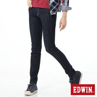 【9折優惠↘】Miss EDWIN EDGE後袋剪接窄管牛仔褲-女-原藍色