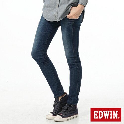 【新品送野餐墊↘】Miss EDWIN EDGE後袋剪接窄管牛仔褲-女-石洗藍【9/30前指定新品單筆滿3800就送EDWIN迷彩野餐墊↘隨貨寄出↘】