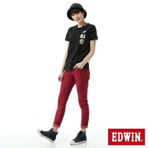 【2000元優惠↘】EDWIN 503 JERSEYS迦績彩色AB褲-女款 紅色 2