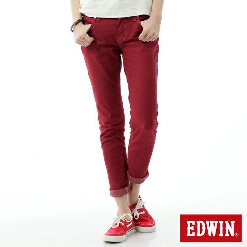 【2000元優惠↘】EDWIN 503 JERSEYS迦績彩色AB褲-女款 紅色 0