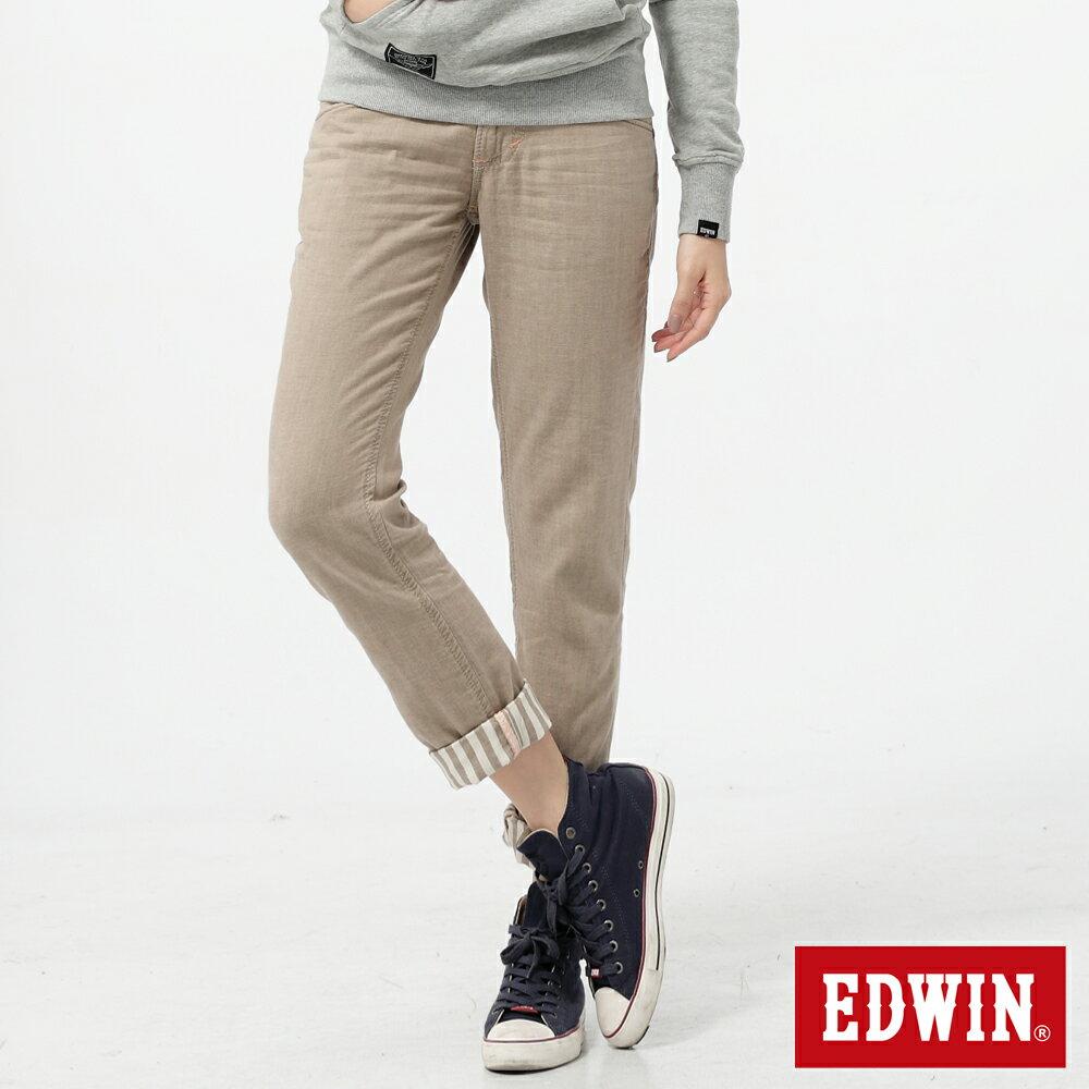 【5折優惠↘】Miss EDWIN BLUE TRIP袋蓋反折條紋休閒褲-女款 卡其