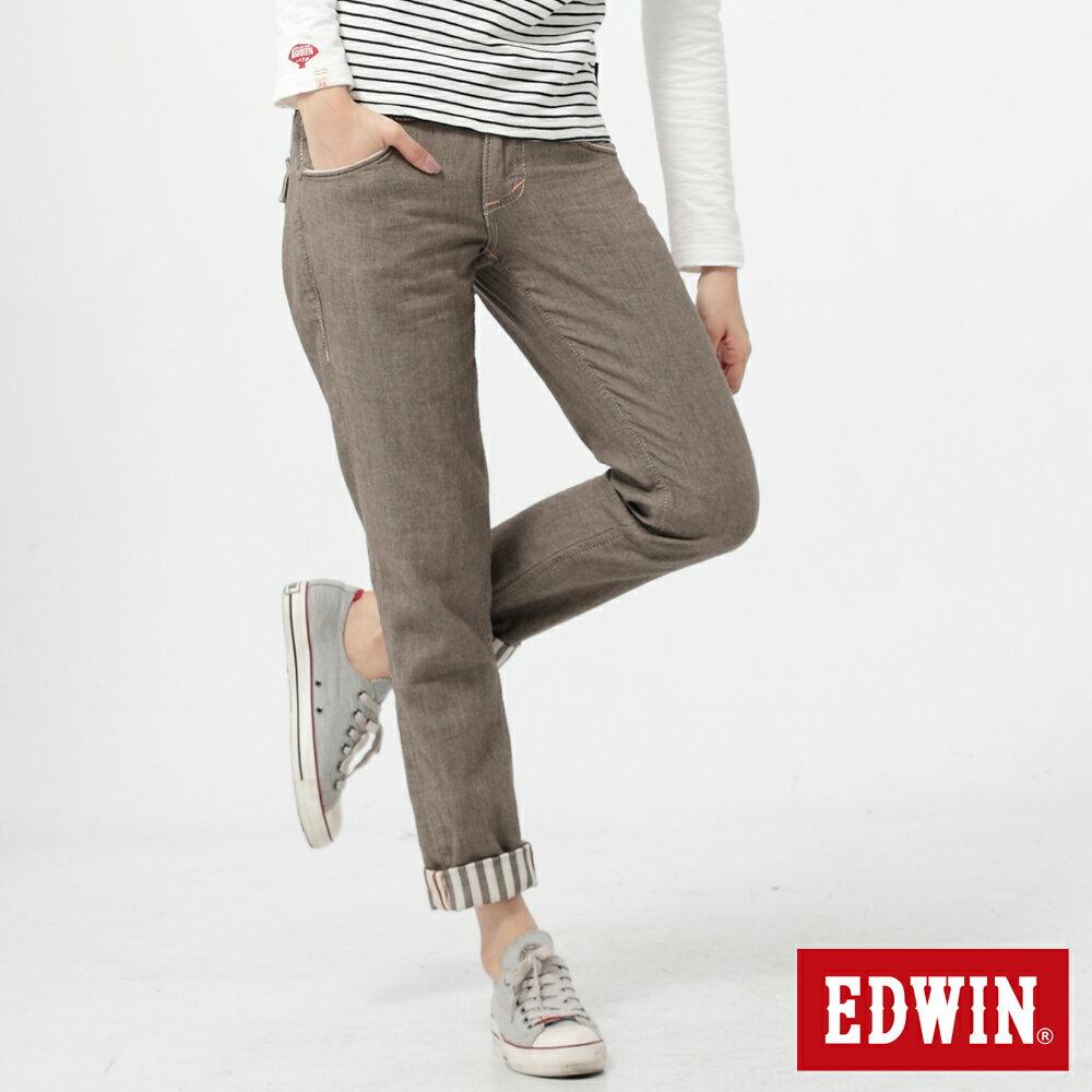 【5折優惠↘】Miss EDWIN BLUE TRIP袋蓋反折條紋休閒褲-咖啡