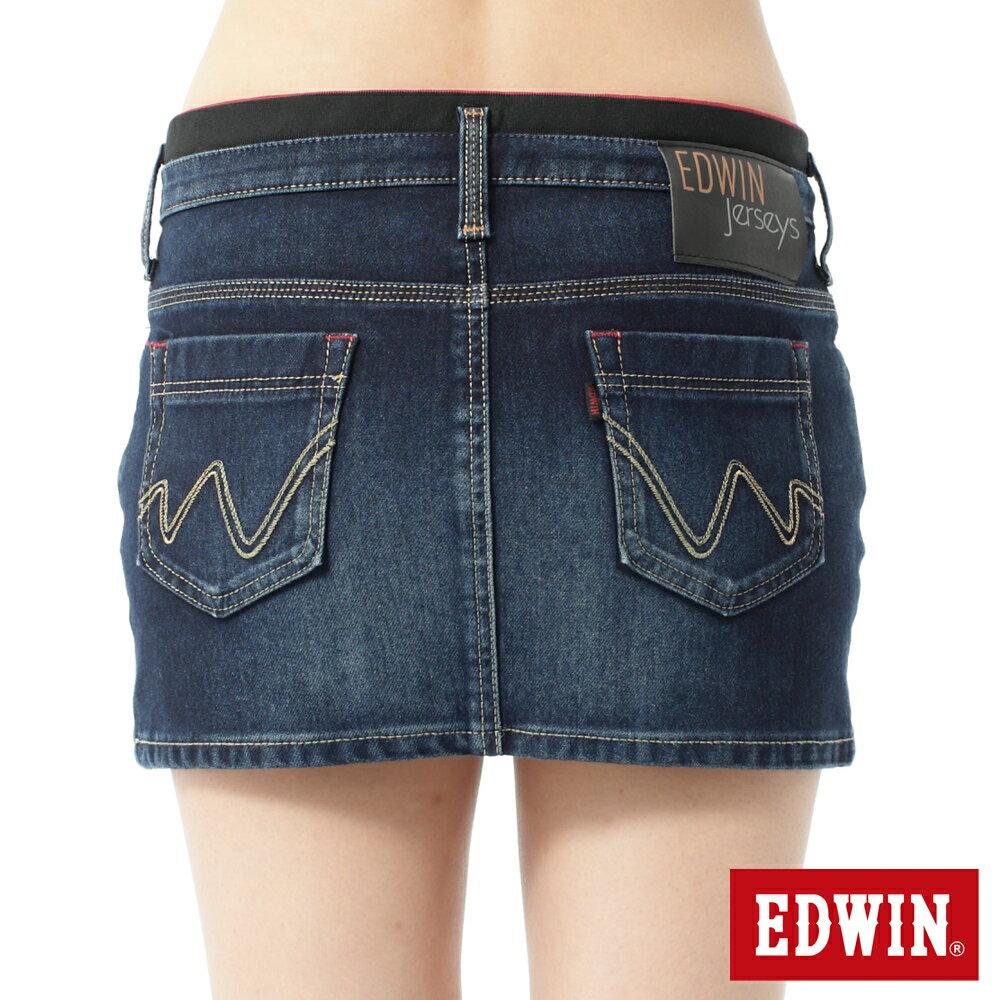 【過年加碼。2件再9折優惠↘】EDWIN JERSEYS迦績黑腰頭牛仔超短裙-女-酵洗藍 1
