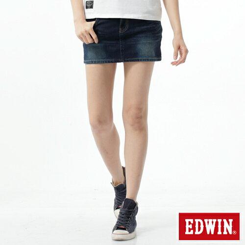 【過年加碼。2件再9折優惠↘】EDWIN JERSEYS迦績黑腰頭牛仔超短裙-女-酵洗藍 0