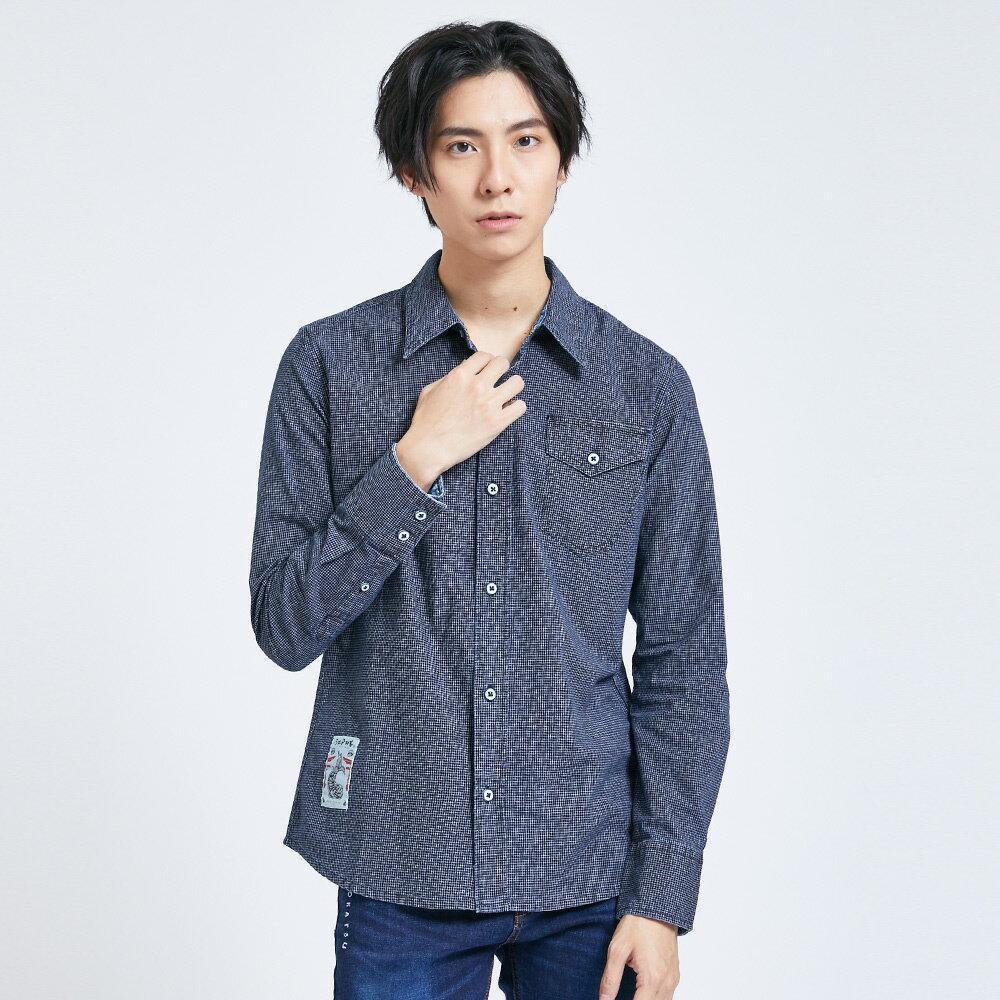 EDOKATSU 江戶勝 素雅細格口袋 長袖襯衫-男款 石洗藍