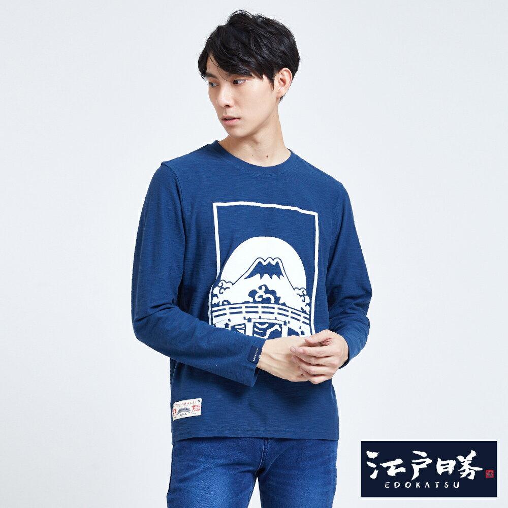 EDOKATSU江戶勝 潮LOGO 薄長袖T恤-男款 灰藍 目錄揭載