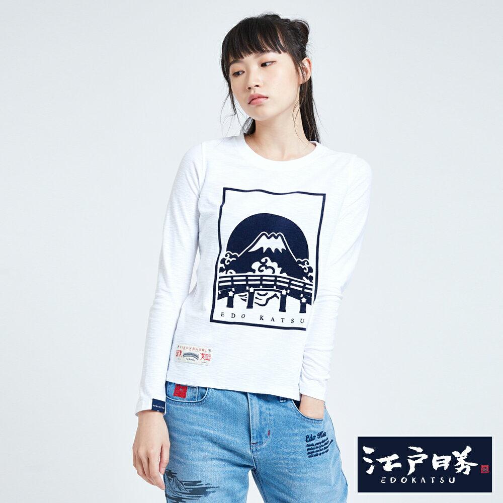 EDOKATSU江戶勝 潮LOGO 薄長袖T恤-女款 白色