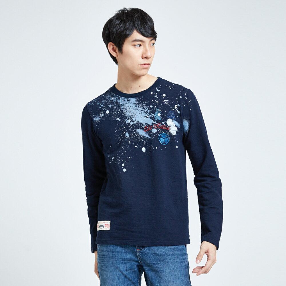 EDOKATSU江戶勝 噴漆斑駁 厚長袖T恤-男款 丈青 1
