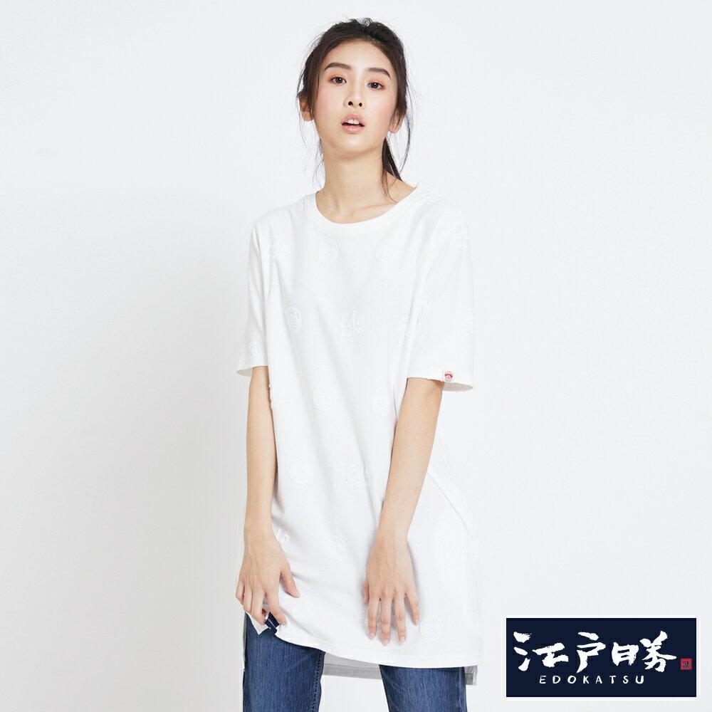 EDOKATSU江戶勝 凸面LOGO緹織 長版短袖T恤-女款 米白