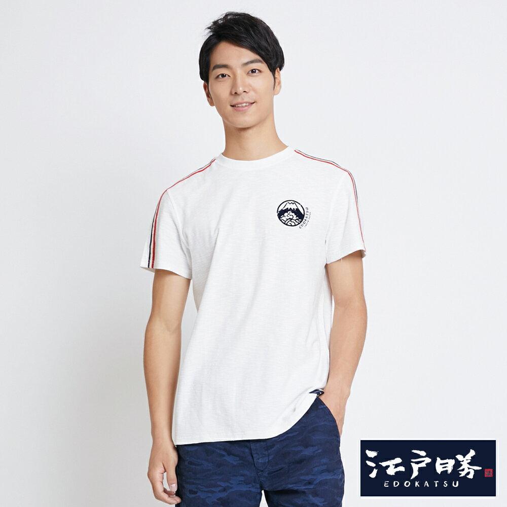 EDOKATSU江戶勝 織帶LOGO印圖 短袖T恤-男款 米白