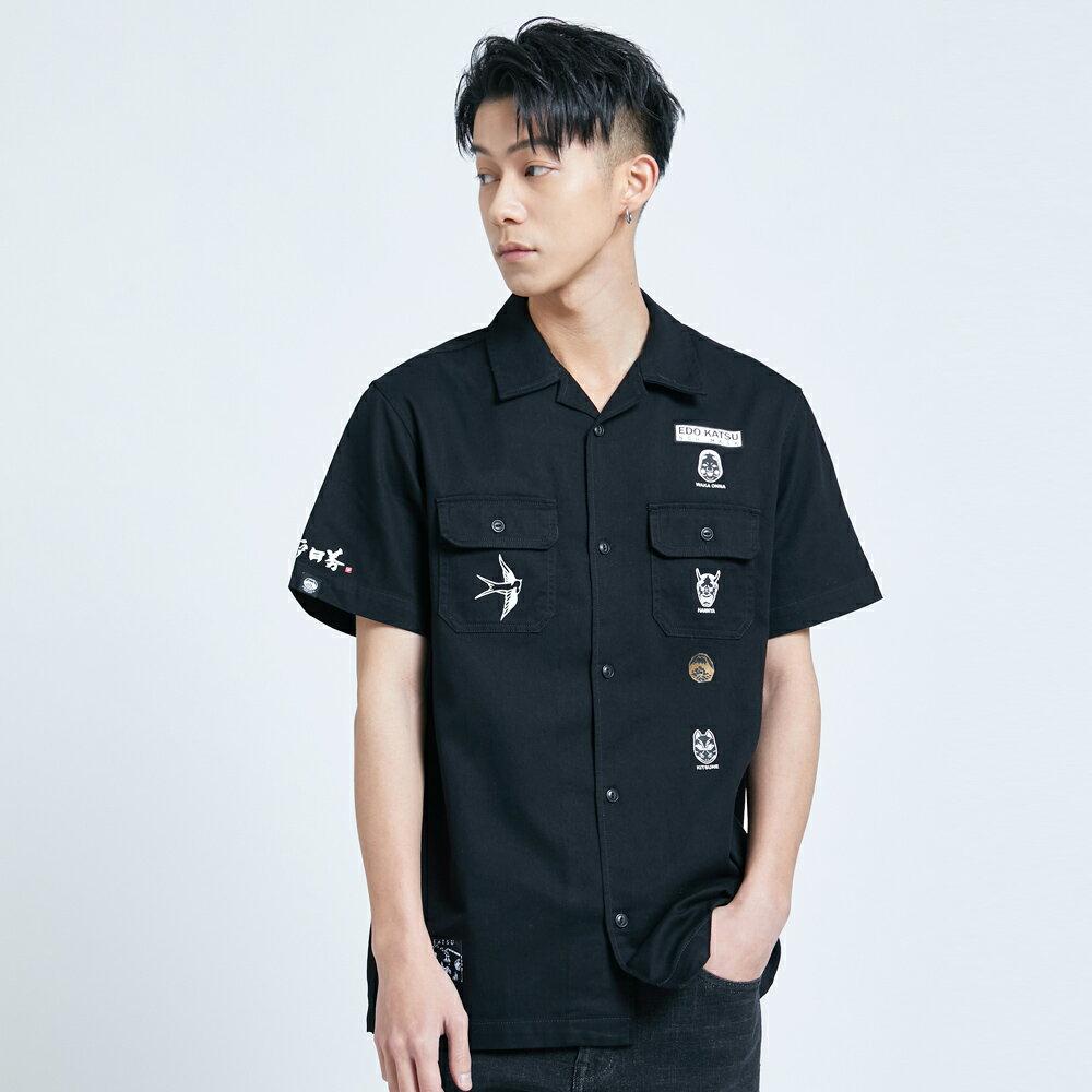 【APP領券9折】新品↘EDOKATSU江戶勝 能面工裝短袖襯衫-男款  黑色 1