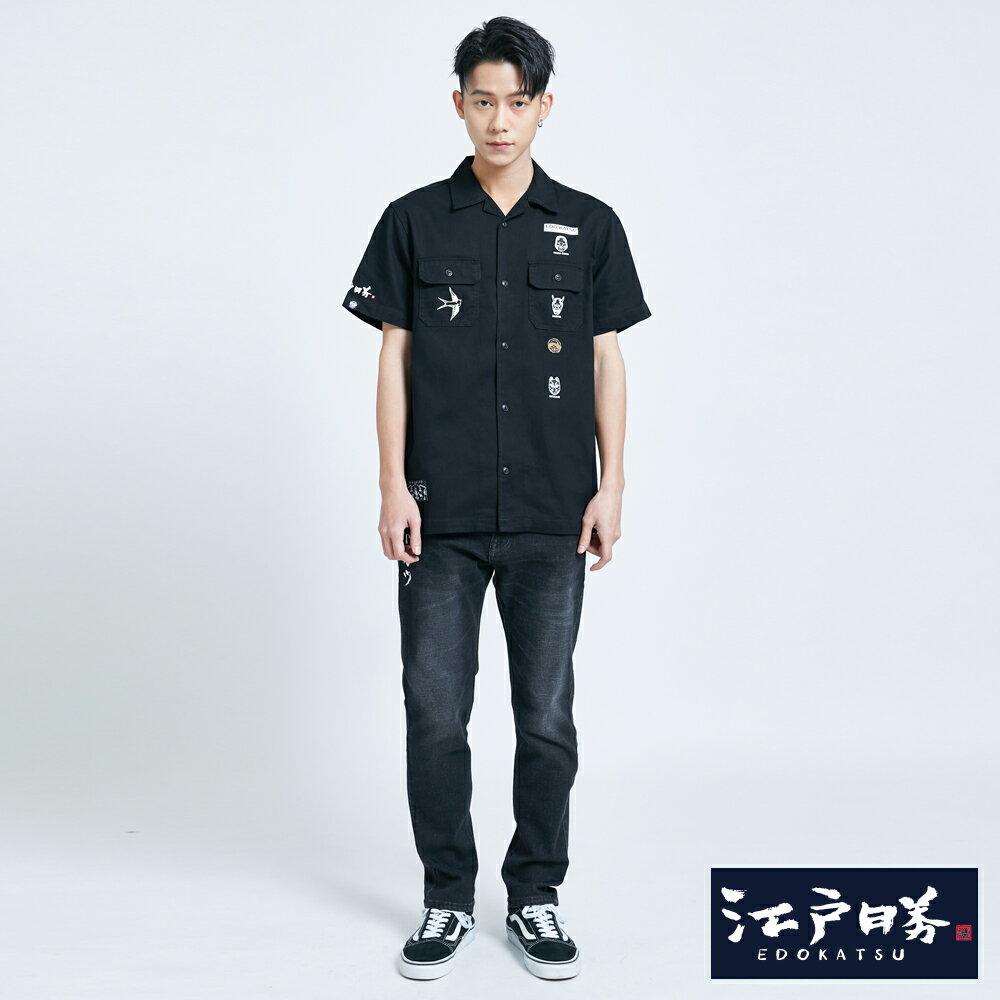 【APP領券9折】新品↘EDOKATSU江戶勝 能面工裝短袖襯衫-男款  黑色 4
