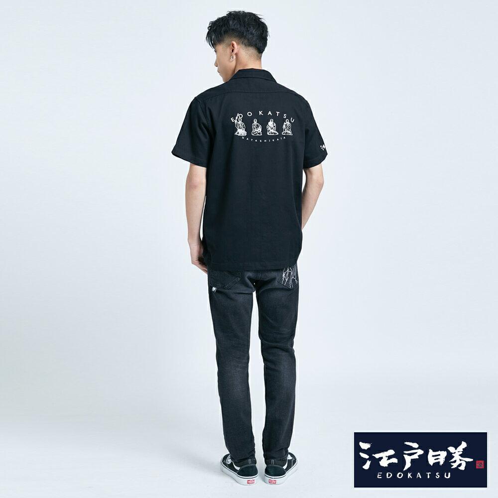 【APP領券9折】新品↘EDOKATSU江戶勝 能面工裝短袖襯衫-男款  黑色 5