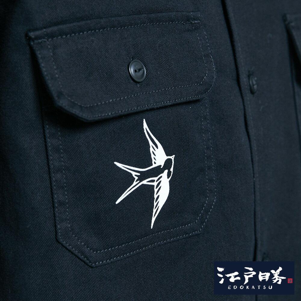 【APP領券9折】新品↘EDOKATSU江戶勝 能面工裝短袖襯衫-男款  黑色 8