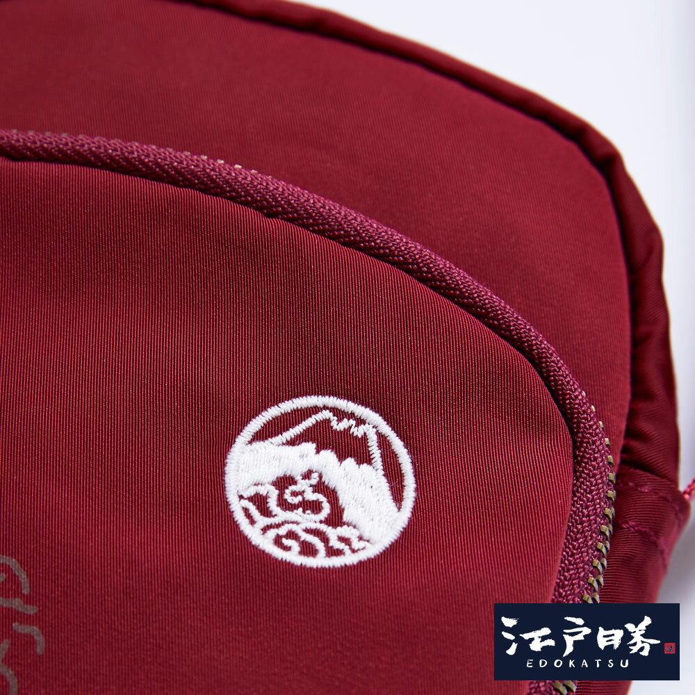 新品↘EDOKATSU江戶勝 限量富士山繡海浪 小側背包-中性款 紅色 3