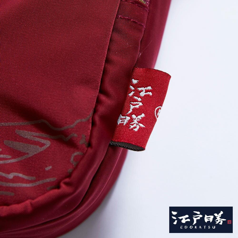 新品↘EDOKATSU江戶勝 限量富士山繡海浪 小側背包-中性款 紅色 4