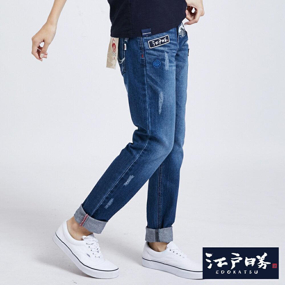新品↘EDOKATSU江戶勝 繡章 窄直筒牛仔褲-中性款 石洗藍 SLIM 2