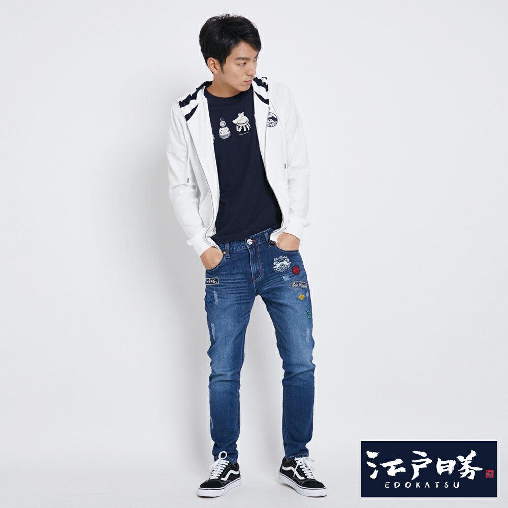 新品↘EDOKATSU江戶勝 繡章 窄直筒牛仔褲-中性款 石洗藍 SLIM 3