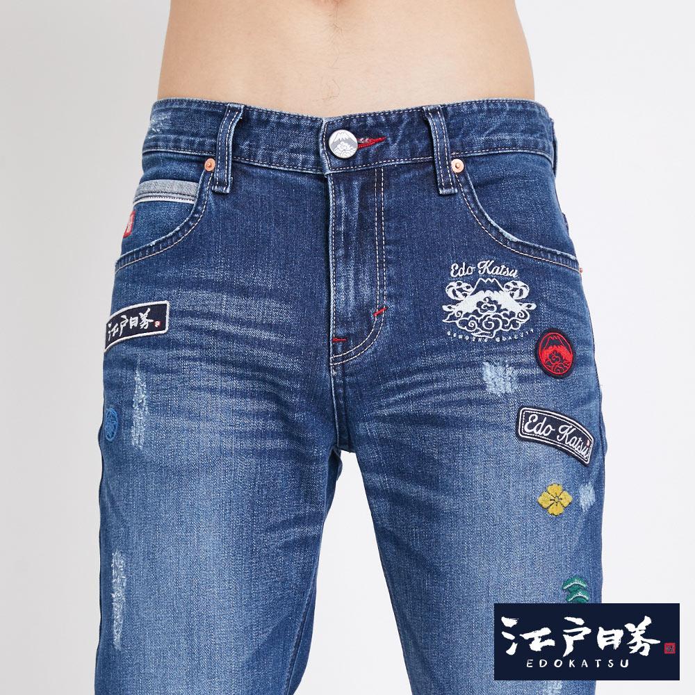 新品↘EDOKATSU江戶勝 繡章 窄直筒牛仔褲-中性款 石洗藍 SLIM 5