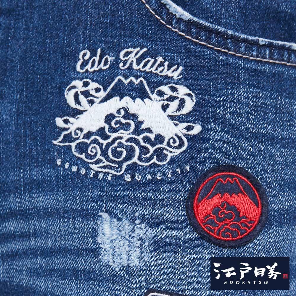 新品↘EDOKATSU江戶勝 繡章 窄直筒牛仔褲-中性款 石洗藍 SLIM 8