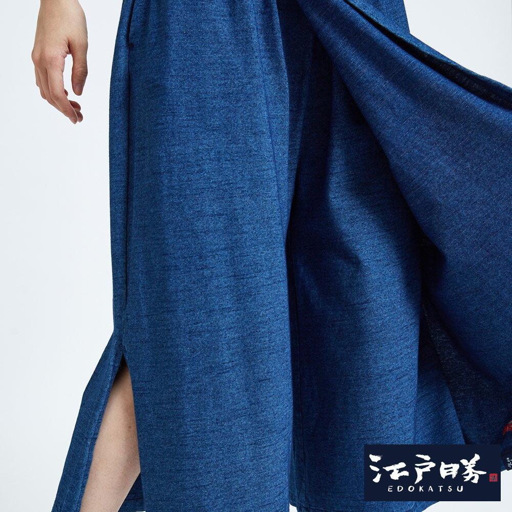 新品↘EDOKATSU江戶勝 INDIGO禪風 側開岔牛仔褲裙-女款 石洗藍 WIDE LEG CULOTTES 7