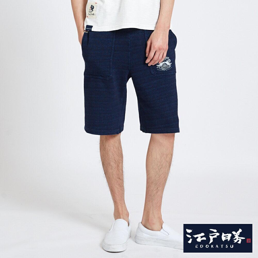 EDOKATSU江戶勝 INDIGO繡花抽繩 棉質短褲-男款 酵洗藍 SHORTS 0