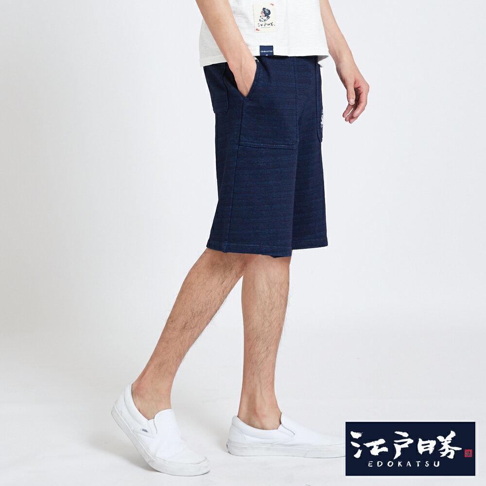 EDOKATSU江戶勝 INDIGO繡花抽繩 棉質短褲-男款 酵洗藍 SHORTS 2