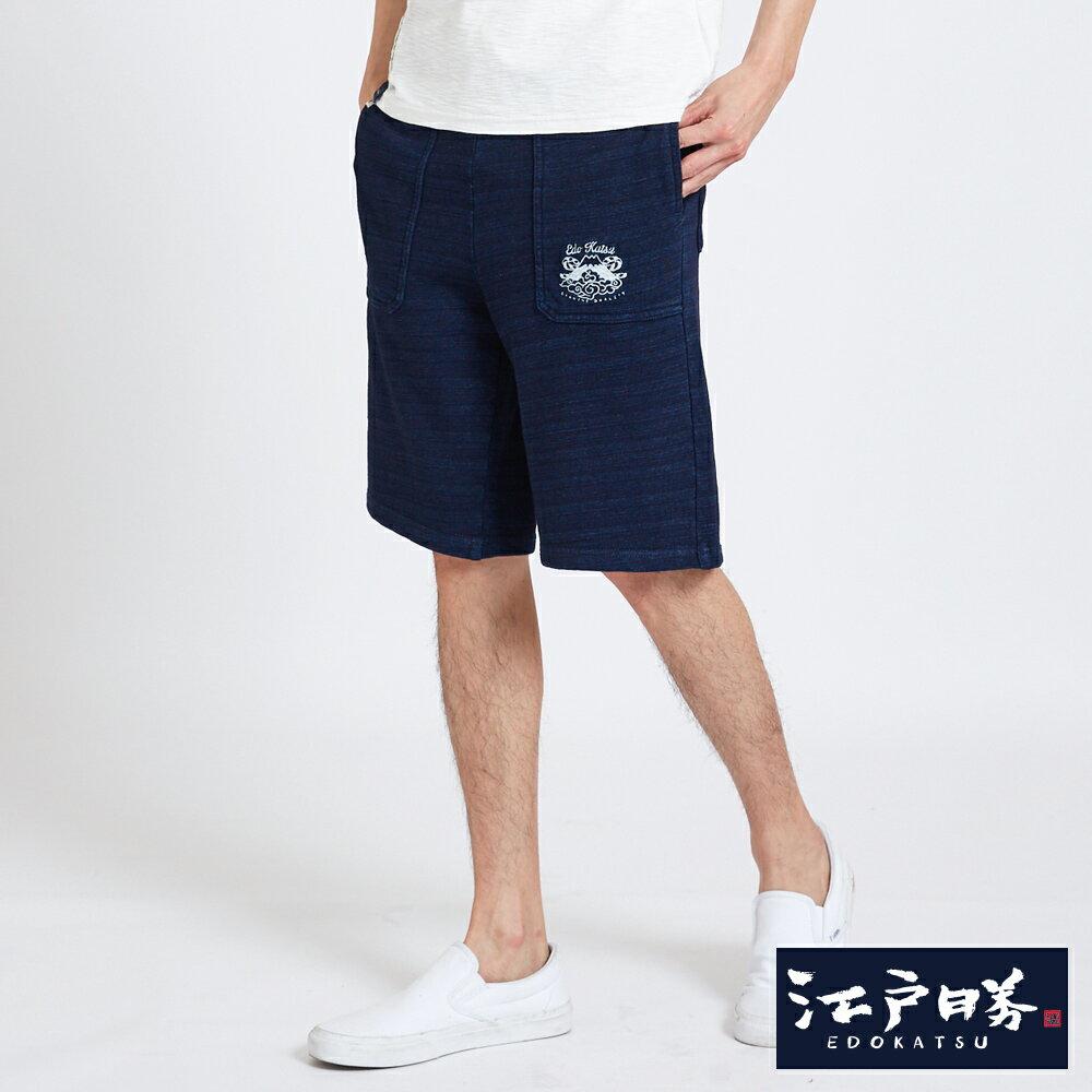 EDOKATSU江戶勝 INDIGO繡花抽繩 棉質短褲-男款 酵洗藍 SHORTS 3